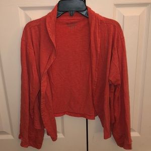 Chico's coral shirt cardigan size 1